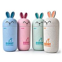 Bình đựng nước lúa mì Bunny 300ml hình thỏ siêu cute - giao màu ngẫu nhiên