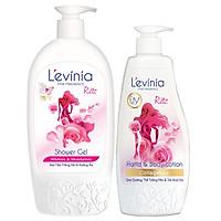 Combo Sữa Tắm L'evinia NANO Chống Nắng 500g & Sữa Dưỡng Thể Trắng Mịn, Trẻ Hóa Da Collagen 250g - TẶNG 1 Kem Tẩy Lông CARISA nhập khẩu từ Tây Ban Nha