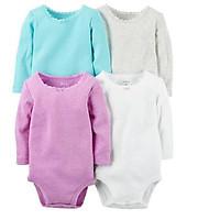 Set 4 bodysuit dài tay bé gái Carter's Baby Girls' 4-Pk. Long-Sleeve Textured Bodysuits