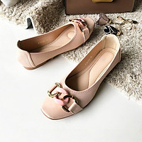 Giày búp bê nữ Thái Lan đế bằng đính nơ khóa Emerald thời trang, nhẹ mềm êm chân dễ dàng di chuyển và phối đồ - màu hồng phấn Nude