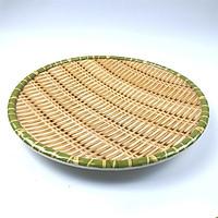 Đĩa nhựa tròn đựng hoa quả  hoa văn giả mây 0171  (size 23cm)