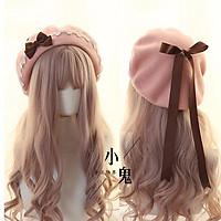 Nhật Bản Kawaii Mũ Nồi Lolita Thiếu Niên Trái Tim Ngọt Ngào Len Handmade Dễ Thương Ren Nơ Ấm Mùa Thu Đông Họa Sĩ Nón Mũ Trùm Đầu