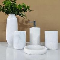 Bộ sản phẩm bình hoa và set phụ kiện phòng tắm đá tự nhiên - Trắng Ý
