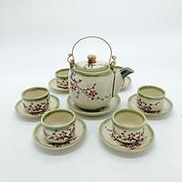 Bộ bình trà/ Bộ ấm trà men da lươn vẽ hoa mai (bình lớn)