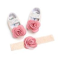 Combo giầy + băng đô bé gái sơ sinh đến 18 tháng tuổi, giày búp bê công chúa bé gái vải mềm chống trượt