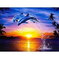 Bimkole 5D Diamond Painting Jumping Dolphin Full Drill DIY Rhinestone Pasted with Diamond Set Arts Craft Decorations (12x16inch)