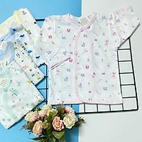 Set 5 áo sơ sinh cotton tay dài cài nút xéo họa tiết J-Tomtom Baby cho bé trai, bé gái