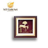 Tranh hoa sen dát vàng 24k (20x20cm) MT Godl Art- Hàng chính hãng, trang trí nhà cửa, phòng làm việc, quà tặng sếp, đối tác, khách hàng, tân gia, khai trương