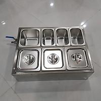 combo đựng topping bằng inox thùng giữ lạnh và khay inox 304