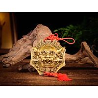 Mặt hổ phù sư tử trừng mắt ngậm kiếm bằng đồng thau phong thủy Hồng Thắng