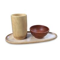 Khay gỗ hình quả xoài đựng thực phẩm, trang trí bàn ăn