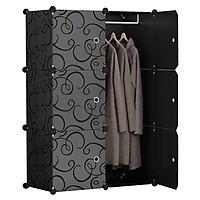 Tủ nhựa ghép đa năng 6 ô đựng quần áo FULL ĐEN ( 110*74*37cm)