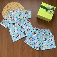 Bộ mặc nhà Pijama tay ngắn quần đùi chất vải kate thái họa tiết hình cho bé trai 12 đến 30kg