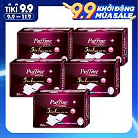 Lốc 5 hộp Bông Tẩy Trang Puffme 5 in 1 (80 miếng x 5)