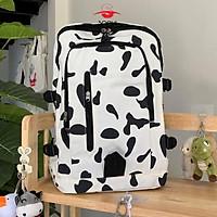 Balo thời trang ulzzang bò sữa ngựa vằn vải canvas khóa dọc đựng vừa laptop cho nam nữ đi học