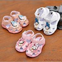 SN4_Giày sandal tập đi cho bé gái đế gấu có kèn hình cô tiên dễ thương - Hàng QC cao cấp