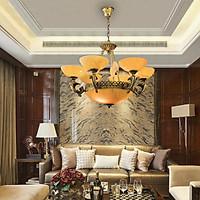 Đèn Chùm Đồng Đá Hoa Mai 6353 Trang Trí Phòng Khách, Phòng Ăn, Sảnh Khách sạn với 2 Kiểu dáng Sang trọng Cao cấp