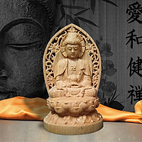 Tượng Gỗ Phật A Di Đà - Trang trí xe ô tô/ bàn làm việc/ Phật Bản mệnh tuổi Tuất, Hợi