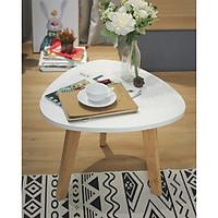 Bàn sofa oval trắng (L)