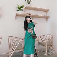 váy suông nữ, đầm suông in hình cá sấu chất cotton