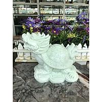 Tượng Long Quy ( Rùa đầu Rồng ) phong thủy đá cẩm thạch trắng xanh - Dài 17 cm