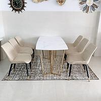 Bộ bàn ăn chân inox mặt đá 6 ghế loft trám BBA-40
