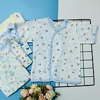 Set 5 áo sơ sinh cotton tay ngắn cài xéo họa tiết J-Tomtom Baby cho bé trai, bé gái- Giao màu ngẫu nhiên