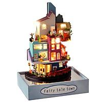 Mô hình nhà lắp bép bằng gỗ Mẫu Ngôi Nhà Trên Mây có đèn led, tặng kèm dụng cụ lắp ráp, silicon, Có Thể Treo Tường