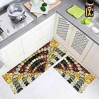 Bộ 2 miếng thảm bếp 3D chống trơn bám sàn siêu đẹp hình Đá hoa
