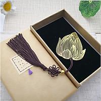 Bookmark đánh dấu trang sách búp sen vàng cao cấp quà tặng ý nghĩa BK04