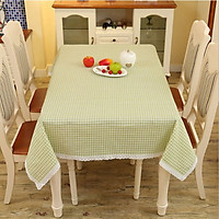 Khăn trải bàn caro xanh lá - viền ren xinh xắn - khăn trải bàn phòng khách - phòng ăn - nhà hàng - khách sạn