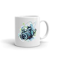 Cốc Sứ Cao Cấp In họa tiết Họa tiết máy ảnh màu xanh