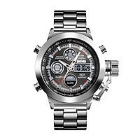 SKMEI 1515 Men Quartz Watch Professional 3ATM Water Resistant Double Display Double Movements GMT Time Multifunctional
