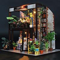 Nhà búp bê bằng gỗ Tiệm café  Tặng kèm keo dán,dụng cụ lắp ghép, mica