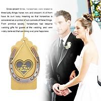 10Pcs Metal Horseshoe Hanging Pendant + Ropes + Tags for Wedding Table Decoration