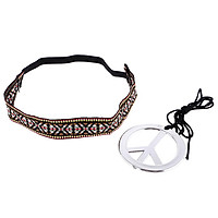 Unisex Peace Symbol Necklace with Headband Set Costume Jewerly Accessories