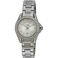 Fossil Ladies Stainless Steel Mini Riley 3-Hand Analog Glitz Watch with Date
