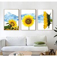 Bộ 3 Tranh Canvas Hoa Hướng Dương- Trang Trí Treo Tường