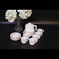 Bộ ấm trà thủy tinh ngọc Mp USA Homeset P3066HLSF hoa mùa xuân