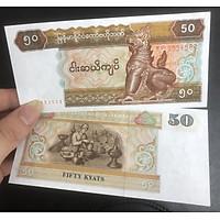 Tiền thế giới, 50 kyats của Myanmar sưu tầm, kèm phơi nilong bảo quản tiền