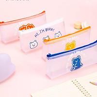 """Hộp bút túi đựng bút đồ dùng học tập đồ dùng cá nhân """"I'm Bear"""" hình Deli - Chất liệu vải lưới trong suốt - Phù hợp cho học sinh, đựng mĩ phẩm - Xanh dương/Trắng/Cam/Đỏ - 67168"""
