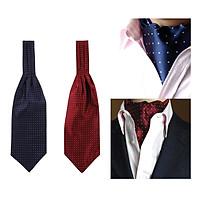 Set of 2 Men's Polka Dot Silk Cravat Ties Jacquard Woven Casual Ascot Gifts