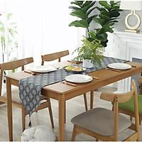 Khăn trải bàn table runner vải bố - Họa tiết Cây xám - mẫu A06