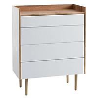 Tủ ngăn kéo JYSK Aarup 4 ngăn gỗ công nghiệp trắng/sồi R79xS41xC100cm