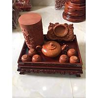 Combo khay trà, bộ ấm chén, hộp đựng chè, gạt tàn thuốc gỗ hương hàng đẹp