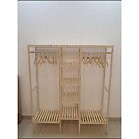 Tủ quần áo 3 buồng gõ thông nhập khẩu Hàn Quốc cao cấp-Tặng kèm 5 móc gỗ tre đồ tam giác(Hình thực tế)