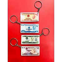 Set 4 Móc khóa bằng nhựa mica hình bộ tiền xưa 10 20 50 ngàn đồng giấy cotton