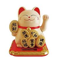 Mèo may mắn vẫy tay năng lượng mặt trời đính miếng vàng tài lộc phú quý an khang thịnh vượng phát tài như ý (Vàng)