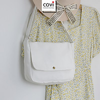 Túi tote đeo chéo vải canvas, túi vải bố hình bán nguyệt Unisex nam nữ đi học đi chơi thời trang COVI đen trắng T29