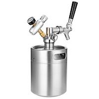 2L Mini Stainless Steel Beer Keg with Tap Pressurized Home Beer Brewing Craft Beer Dispenser Growler System
